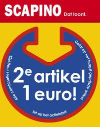 uitverkoop merk schoenen Scapino hoge korting en tweede artikel 1 euro