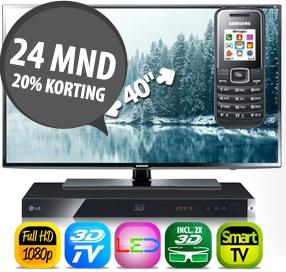 gratis 3D TV en gratis 3D Blu-Ray speler en gratis Samsung GSM