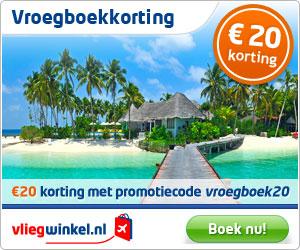 kortingscode vliegwinkel 20 euro vroegboekkorting Kortingscode Vliegwinkel € 20.  korting op vliegtickets & citytrips