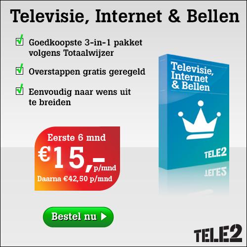 aanbieding alles in 1 pakket Tele2 televisie internet en bellen eerste 6 maanden 15 euro per maand
