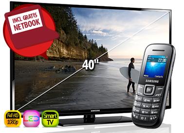 49 Euro voor de 40 inch Full HD Smart LED tv en de 10.1 inch Netbook bij een Vodafone abonnement met korting