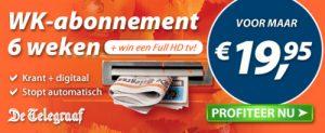 aanbieding Telegraaf WK proefabonnement met hoge korting dat automatisch stopt 300x123 Aanbieding Telegraaf WK proefabonnement, 79% korting, 6 weken van € 93.90 voor € 19.95 (Stopt Automatisch)