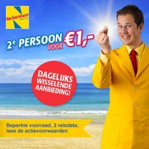 aanbiedingen uitverkoop vliegvakanties tweede persoon € 1.- Neckermann reizen extra vakantie korting actie