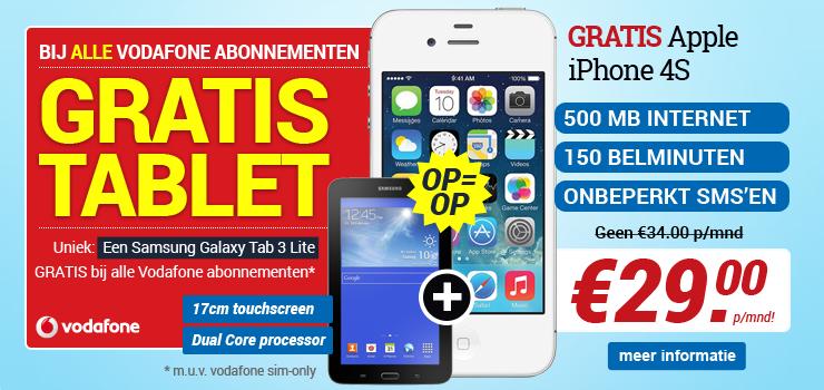 gratis extra Samsung galaxy tab 3 lite cadeau bij gsm abonnement bovenop de gratis smartphones en cadeaus bij elk vodafone abonnement Ritel
