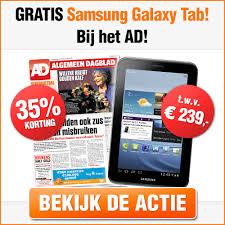 aanbieding Algemeen Dagblad Abonnement met korting en gratis Samsung Galaxy Tab 3 cadeau