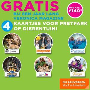 aanbieding 4 gratis pretpark of dierentuin entreekaarten bij Veronica Magazine abonnement