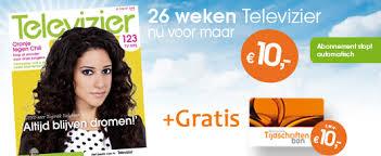 aanbieding Televizier tv gids proefabonnement met korting en gratis tijdschiftenbon van 10 euro