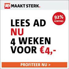 aanbieding AD proefabonnement met korting 4 weken voor 4 euro Aanbieding proefabonnement Algemeen Dagblad met 90% korting, 4 weken voor € 4.  (Stopt automatisch)