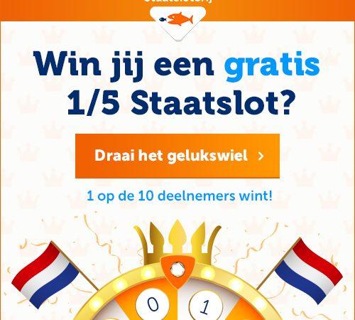 win een 15 staatslot 500x450 Win een gratis 1/5 staatslot tijdens Staatsloterij Trekking Augustus