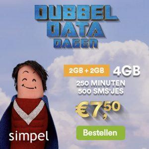aanbiedingen goedkope sim only abonnementen met grote data bundels 300x300 Dubbele Data Simpel Sim Only aanbiedingen, 2 x zoveel data voor dezelfde prijs